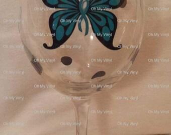 Ovarian Cancer Wine Glass