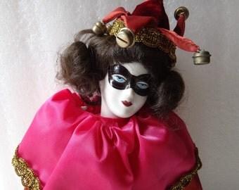 Female Porcelain  Red Jester Doll