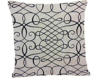 Decorative Pillow Cover, Throw Pillow Cover, Tan with Black Swirl