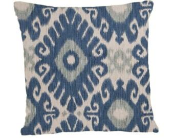 Indigo Ikat Pillow Cover, Throw Pillow, Decorative Pillow