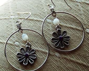 Flower Dangle Hoop Earrings