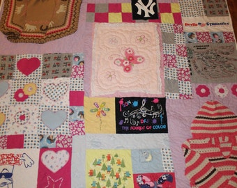 Baby clothes memory quilt, Quilt from recycled clothing, Quilt made from loved one's clothing, T shirt quilt, 16th birthday memory quilt