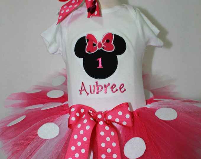Mouse First Birthday outfit, Baby Girl First birthday, Minnie Mouse inspired  birthday,Personalized Birthday bodysuit,hot pink tutu,headband