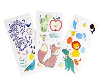 "Lot ""Tattoos"" - 3 boards of ephemeral tattoos Liliaimelenougat - Illustration - gift - child"