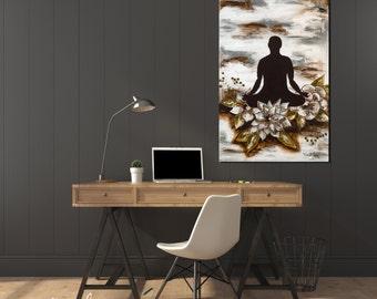 Accomplished meditating  mixed media original art