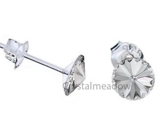 Sterling Silver Stud Earrings Rivoli 8mm Crystal Clear made with Genuine Swarovski Elements