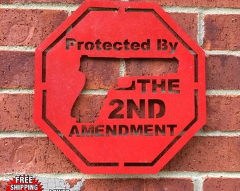 12'' Protected by 2nd Amendment Sign, Man Cave, Wall Decor & FREE SHIPPING