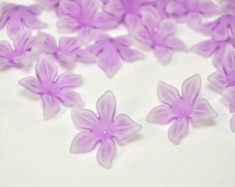 LOW PRICE Set of 10 Large Lavender Tropical Flower Beads, 1-inch size /X444