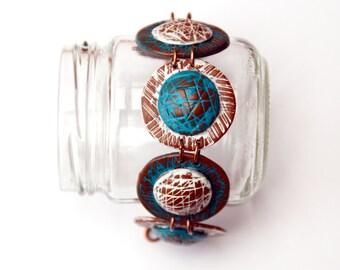 Women's bohemian jewelry Boho bracelet for women Geometric circle beads Polymer clay cuff bracelet Fimo jewelry Hand painted jewelry