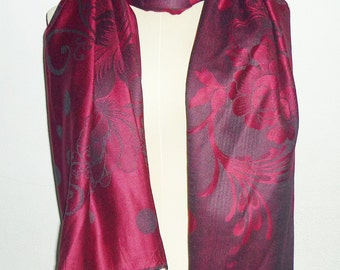 Dark pink scarf 68 x 27 inch flower print polka dot **long scarf**women scarf **gift ideas accessories **Sales clearance