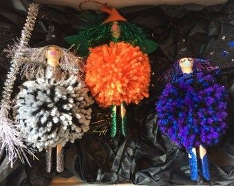 Halloween witches x2 and 1 pumpkin faerie
