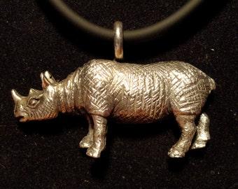 Sterling Silver .925 Rhino pendant Rhinoceros made in USA