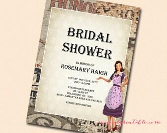 Custom Invite, 1950's Themed Bridal Shower Invitation, Recipe Theme, Cooking Theme, Baking Theme Invitation, YOU PRINT INVITATION Bs119