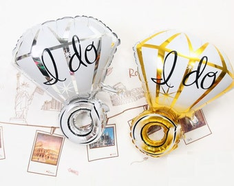 I DO Diamond Ring Foil Aluminum Balloon Wedding Decor / Foil Letter Balloons / Engagament Party / Anniversary Party