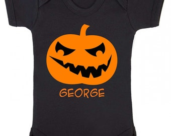 Personalised Scary Jack O Lantern Face With Name Pumpkin Carving Halloween Baby Onesie