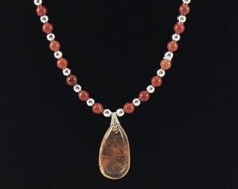 Rutilated Quartz & Red Jasper Beaded Necklace