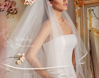 2 tier cathedral veil with ribbon edge,cathedral ribbon edge tulle veil with blusher, long tulle veils, bridal veils, wedding veils V16C
