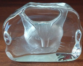 Large Etched Glass Cat Impression Paperweight Display