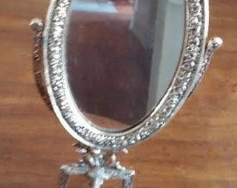 Vintage Small Gold Tone Vanity Mirror on Pedestal