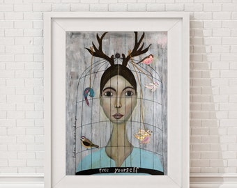 """Giclee Art Print, Giclee print, Print of the original acryl painting """"Free yourself"""" woman, portrait, quote, typography, freedom, text art"""