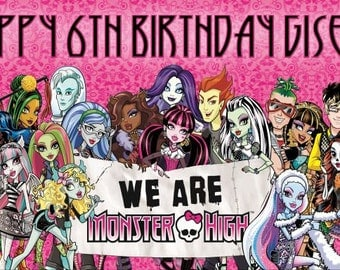 Monster High Banner Birthday Banner