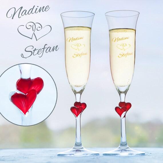 Romantische Herz Sekt Gläser mit Gravur zur Hochzeit 2er Set ...