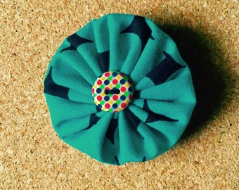 Retro Roundie Hair Clip in Atomic Teal with Vintage Button