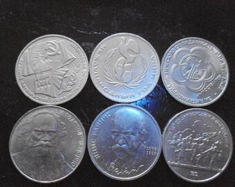 6 commemorative coins of USSR 1 ruble per one lot.