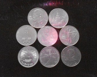 8 commemorative coins of USSR 1 ruble per one lot.