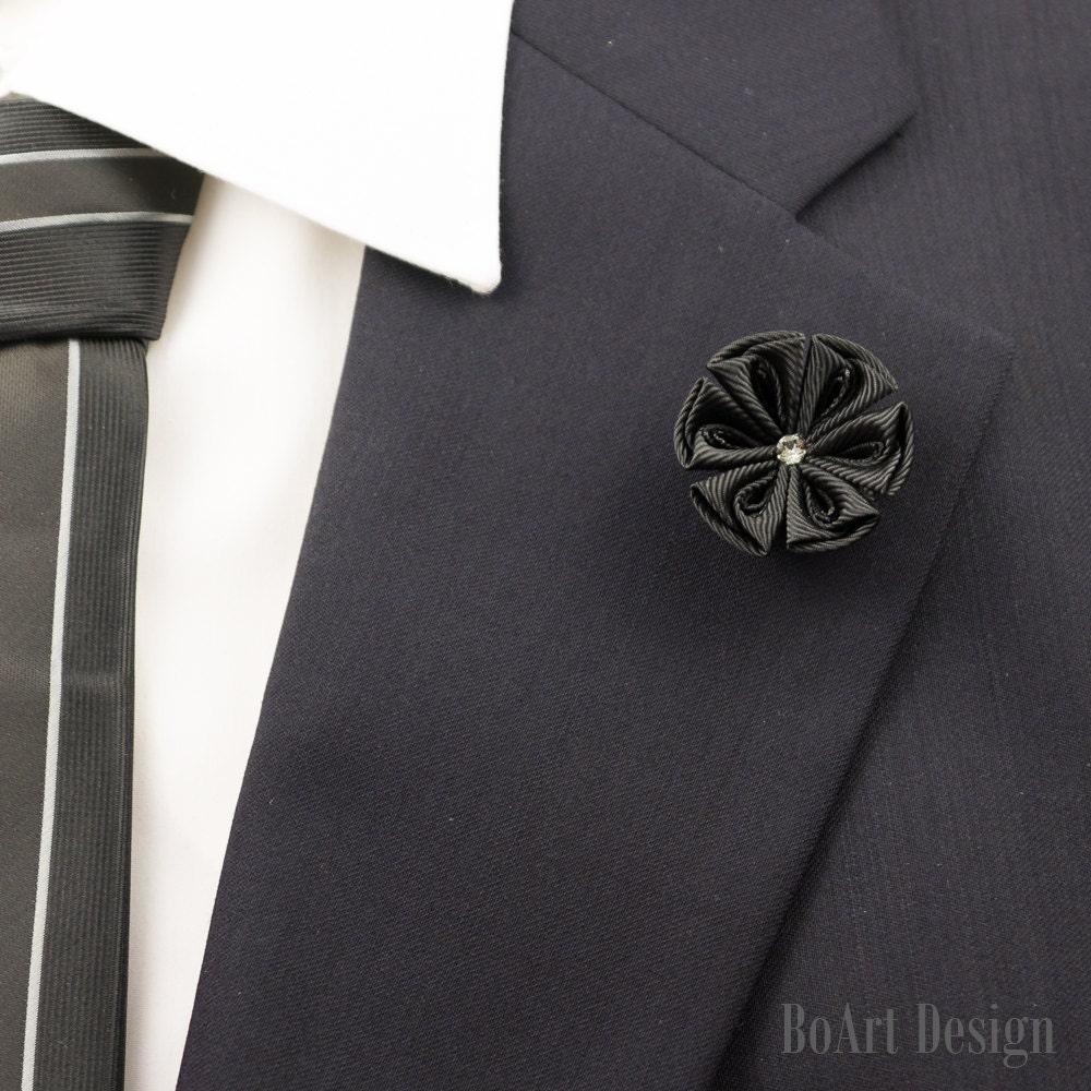 Stylish Beautiful Black Flower Lapel Pin: Black Kanzashi Flower Lapel Pin With Swarovski Clear