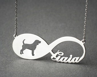 Personalised INFINITY BEAGLE Necklace • Beagle • Name Necklace • Custom Necklace • Beagle Necklace • Dog Necklace • Beagle Gift