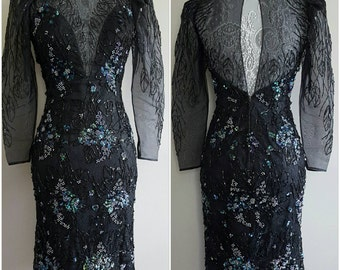 80's vintage black party dress/ 80s holiday party dress/ 1980 sequin beaded dress/ 80s vintage LBD/ 80s vintage prom dress/ size small dress