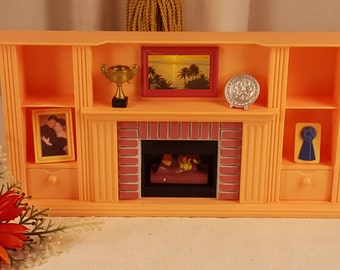 RESERVED for Peggy ******Vintage Plastic Dollhouse Fireplace, Mantle, Miniature Fireplace and Accessories