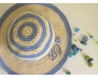 Crochet Floppy sun hat.Knit Summer hat.Wide brim sun hat.Summer striped hat.Knit sun hat.Knit beach hat.Suns hat.Cotton sun hat.Cowboy hat