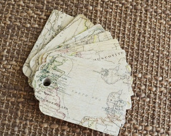 25 Vintage Map Hang Tags - Favor Tags - Gift Tags - Wedding Tags - Die Cut Tags - for Labels, Gift Wrapping or Scrapbooking