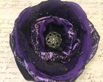 Purple & Black Flower Hair Clip