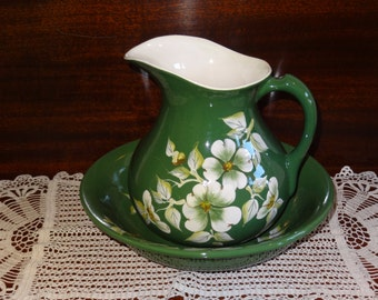 Vee Jackson Green Flowered Pitcher and Bowl