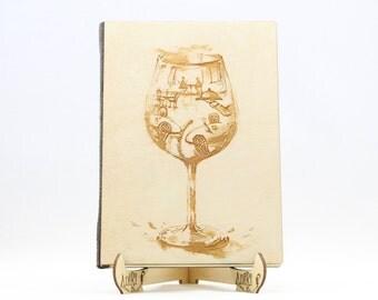 Wine Glass Restaurant Guest Book, Wooden Guest Book, Wood Guestbook, Wedding Guestbook, Laser Engraved Guest Book, Wedding Guestbook Ideas