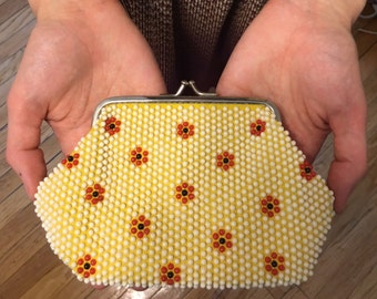 SALE Floral beaded pouch