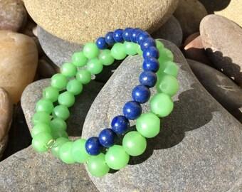 Blue Lapis and Green glass beaded bracelet