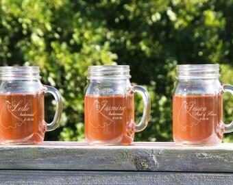 3 Personalized Beer Mug, Engraved Mason Jar Glasses, Monogrammed Wedding Party Gifts, Glassware Rustic Mason Jar, Mason Jar Glasses