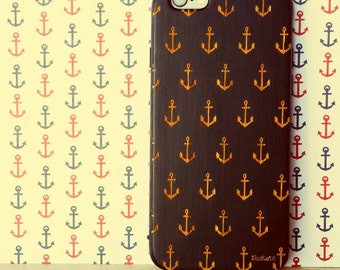 Sketched Sailor's Fashion Anchor Galore Pattern Laser Engraved on Genuine Wood Cell phone Case for iPhone 5S, 6 and 6 plus IP-021