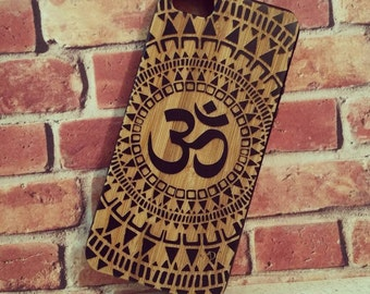 Laser Engraved Hand Drawn Native American Aztec Mandala Om symbol on Wood phone Case for iPhone 5/S 6 and 6 plus IP-044