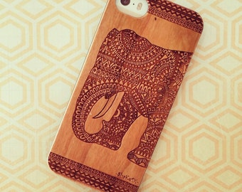 Laser Engraved Tribal Aztec Mandala Doodle Inspired Hindu Elephant on Genuine Wood Cell phone Case for iPhone 5 6 and 6 plus IP-030