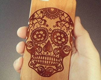 Laser Engraved Hand Drawn Plumeria Floral Sugar Skull Day of the Dead with Mandala on Wood phone Case for iPhone 5/S 6 and 6/S plus IP-043