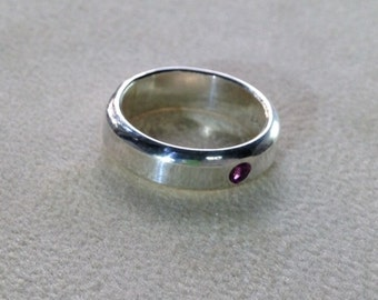 Sterling Silver Band with Garnet flush setting