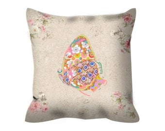 shabby chic pillow cover, butterfly pillow, decorative pillow,  butterfly cushion, accent pillow cushion, shabby chic decor, butterfly decor