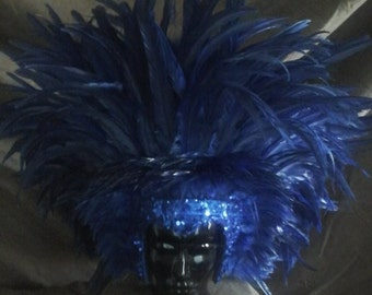 royal blue sequin and feather headdress