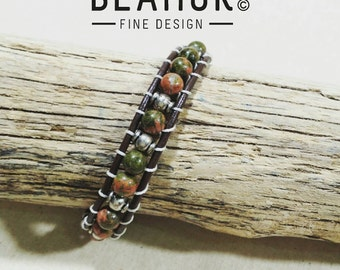 Unakite single leather wrap