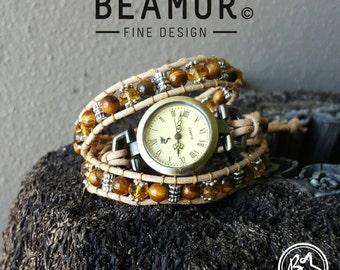 Tiger Eye Gold triple leather wrap watch